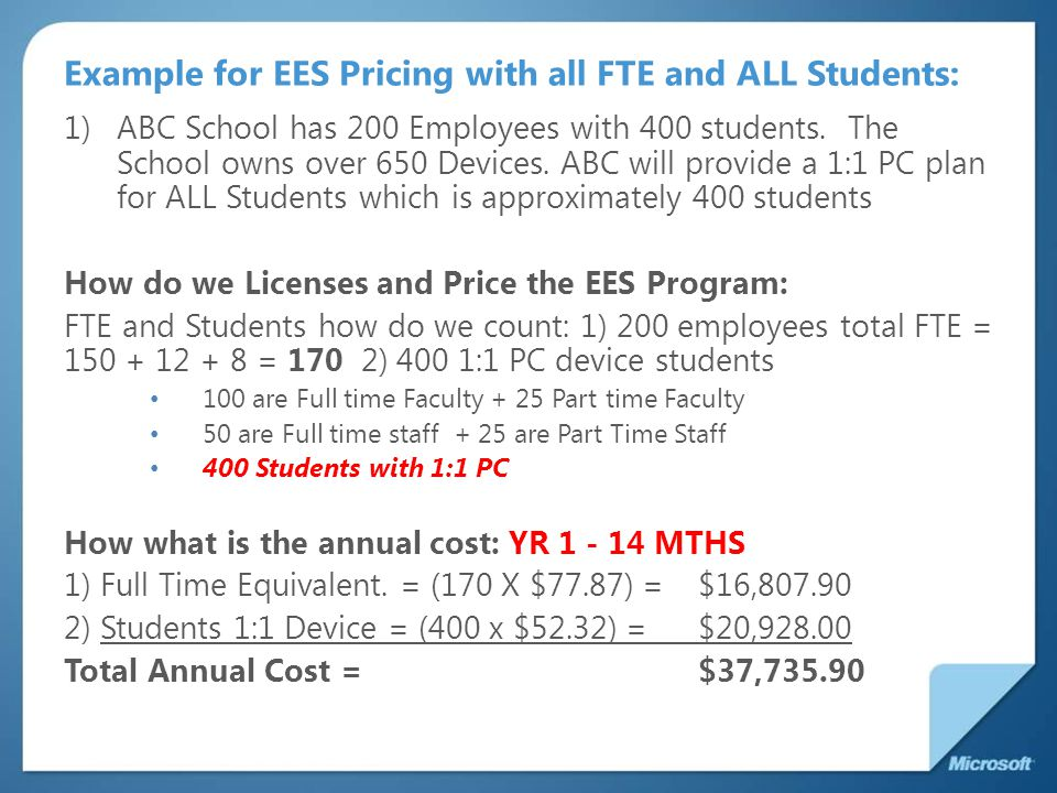 Example for EES Pricing with all FTE and ALL Students:
