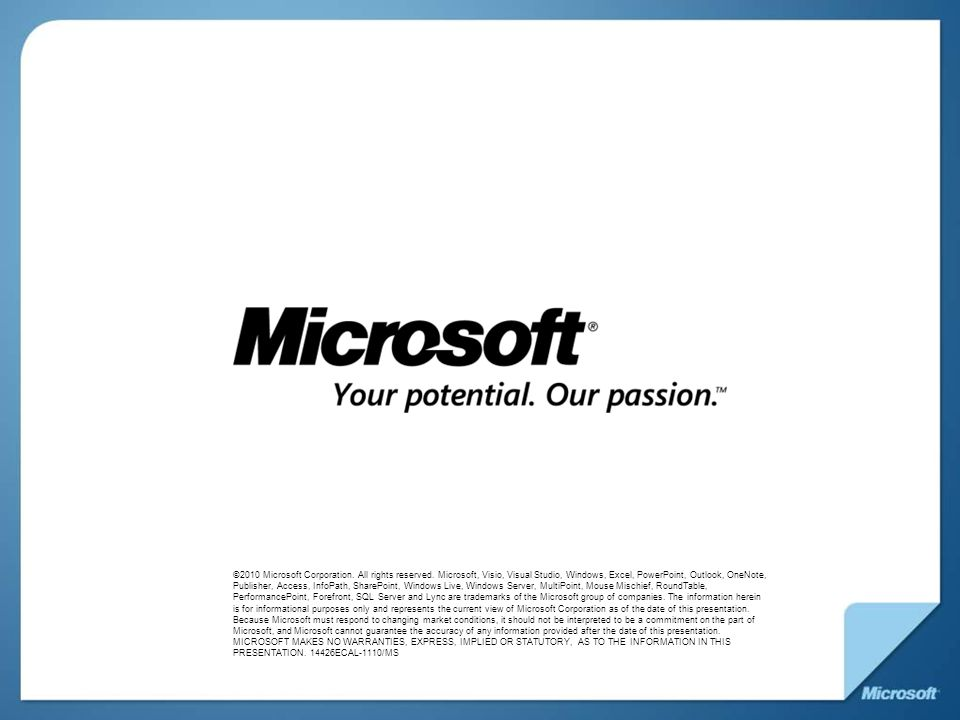 Microsoft Confidential: Preliminary Information: NDA Only