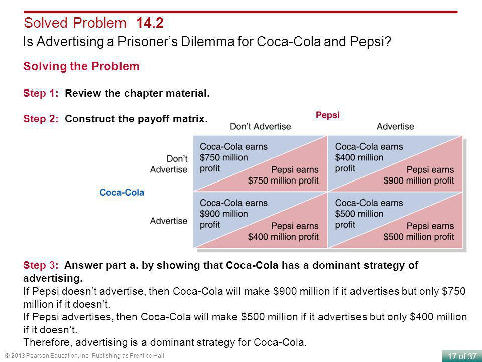 Solved Problem 14.2 Is Advertising a Prisoner's Dilemma for Coca-Cola and Pepsi Solving the Problem.