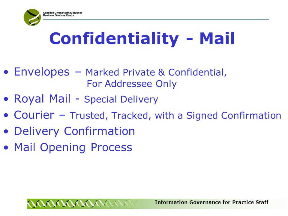 Confidentiality - Mail