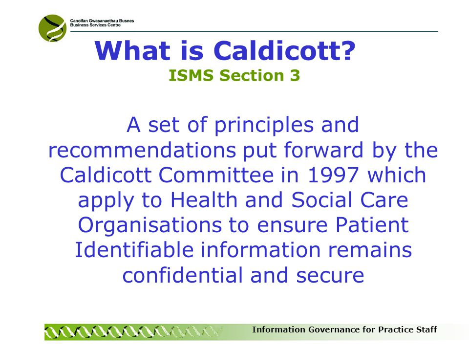 What is Caldicott ISMS Section 3