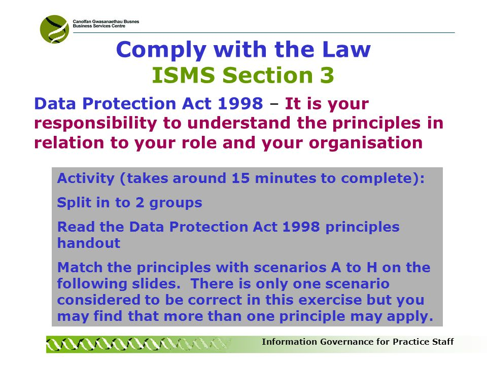 Comply with the Law ISMS Section 3