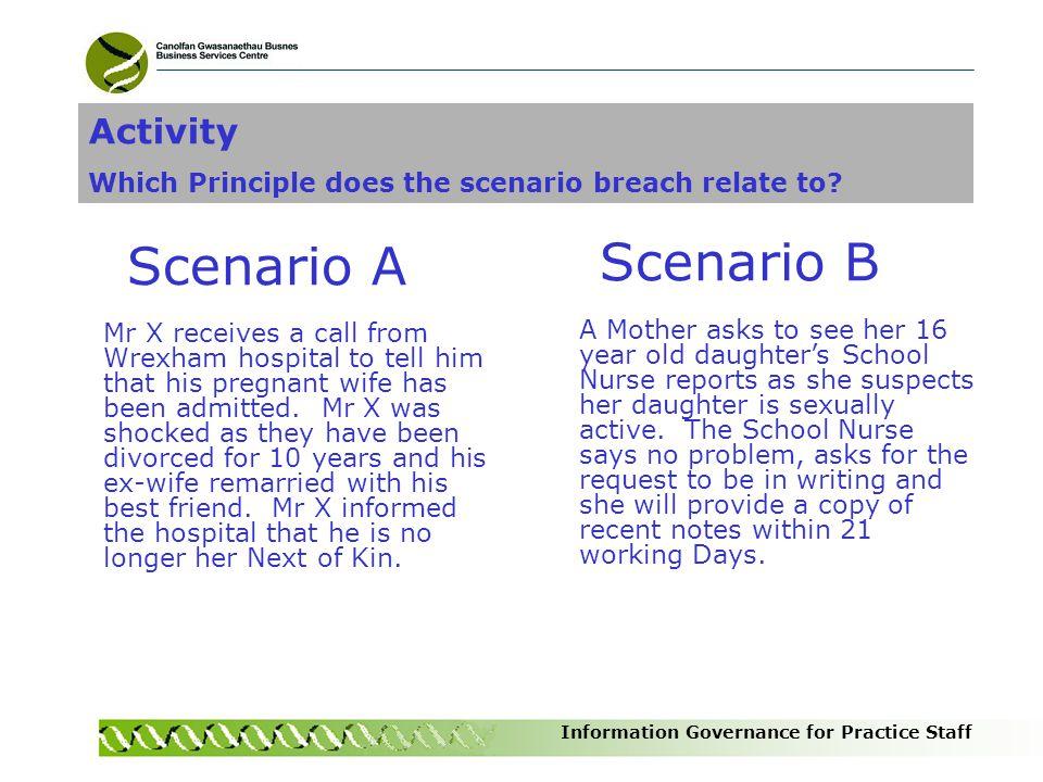 Scenario A Scenario B Activity