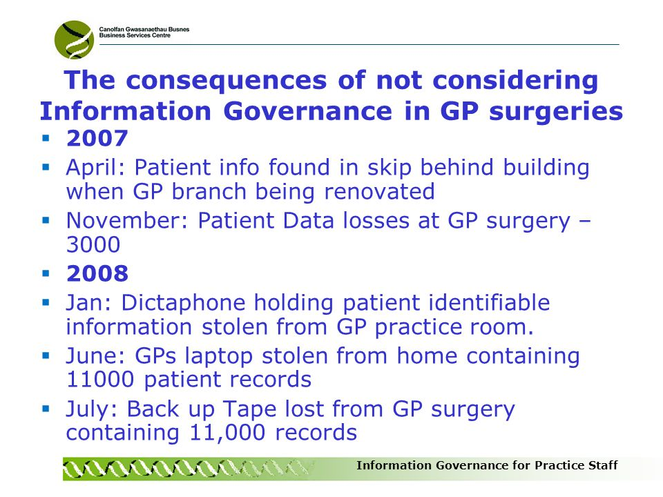 The consequences of not considering Information Governance in GP surgeries