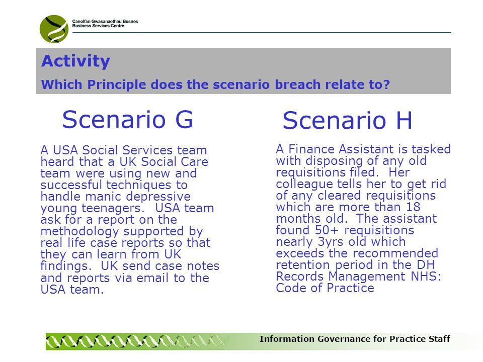 Scenario H Scenario G Activity