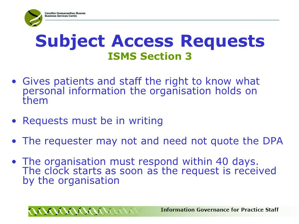 Subject Access Requests ISMS Section 3