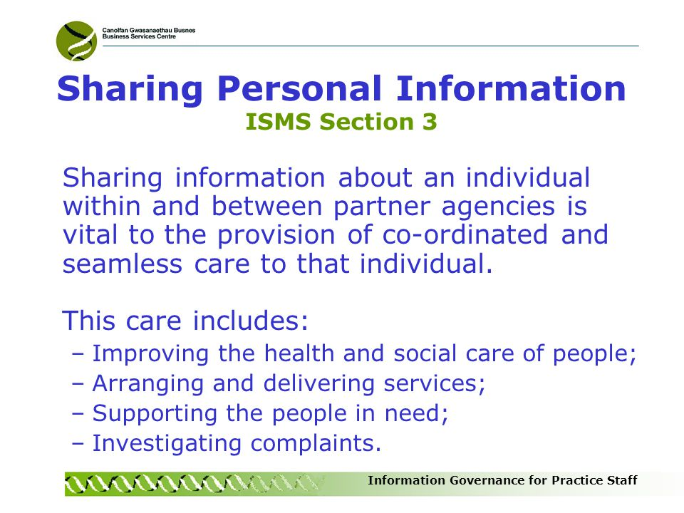 Sharing Personal Information ISMS Section 3