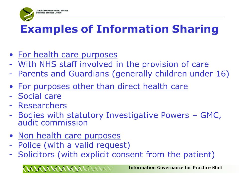 Examples of Information Sharing