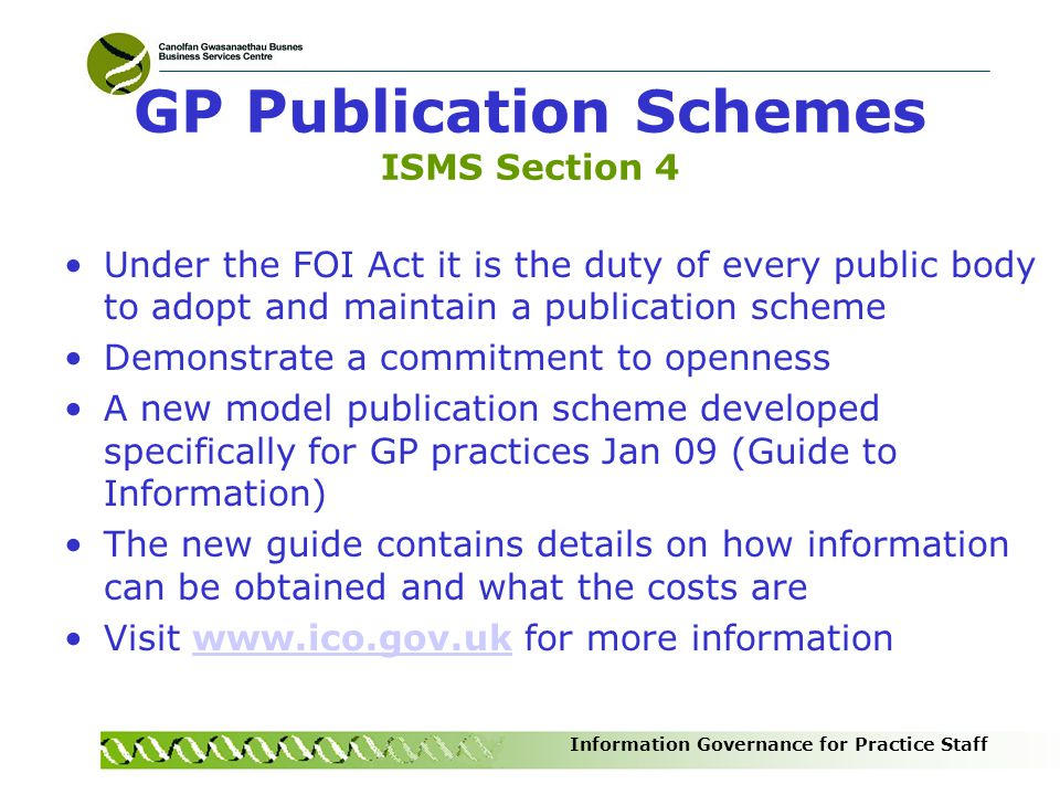GP Publication Schemes ISMS Section 4