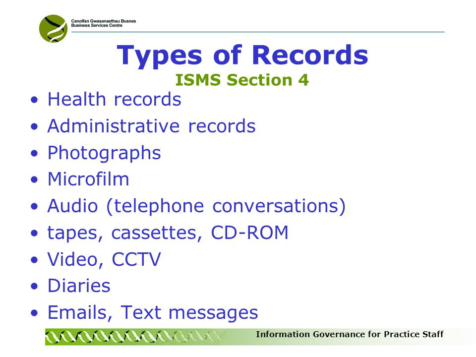 Types of Records ISMS Section 4