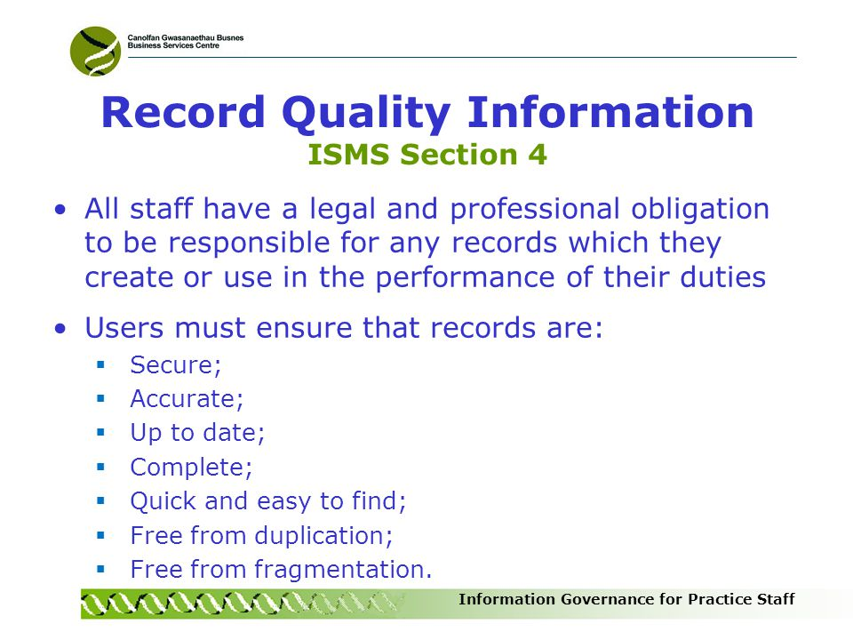 Record Quality Information ISMS Section 4
