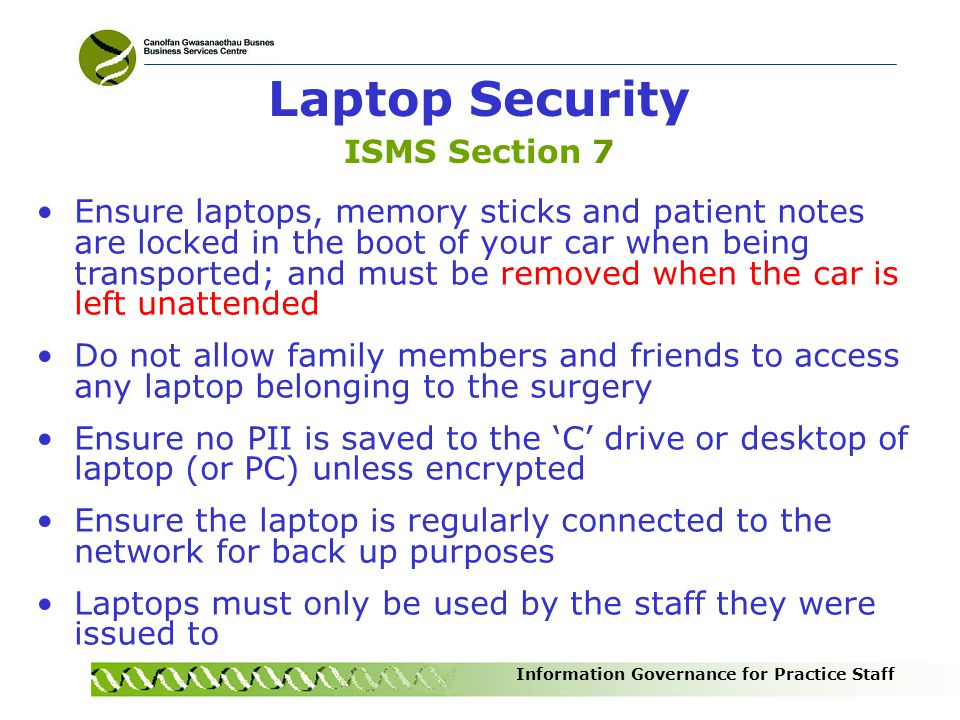 Laptop Security ISMS Section 7