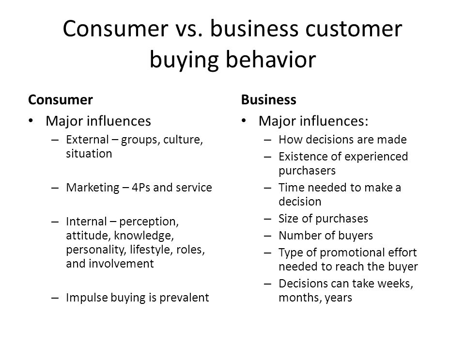 Consumer vs. business customer buying behavior