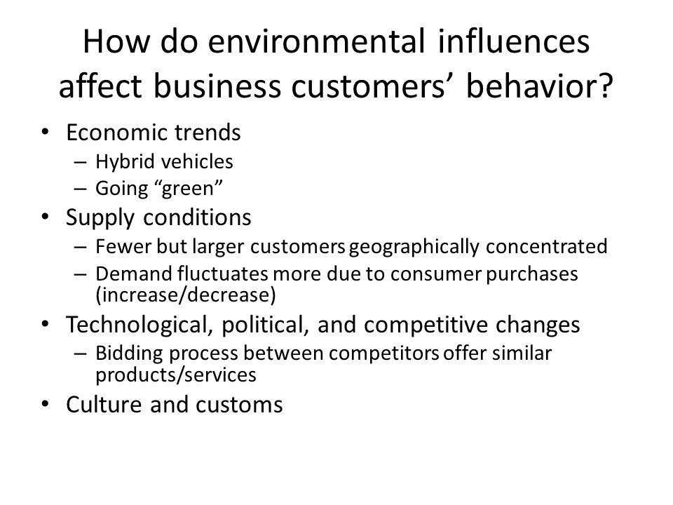 How do environmental influences affect business customers' behavior