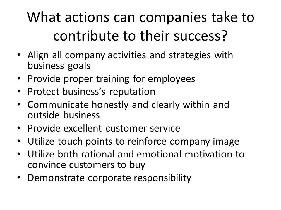 What actions can companies take to contribute to their success