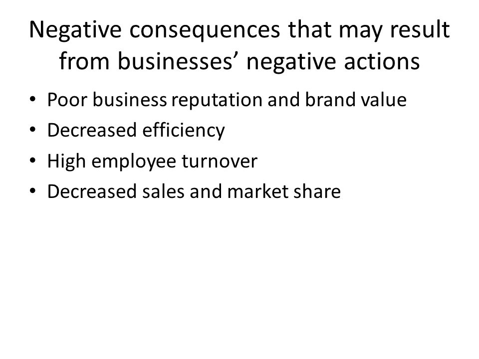Negative consequences that may result from businesses' negative actions