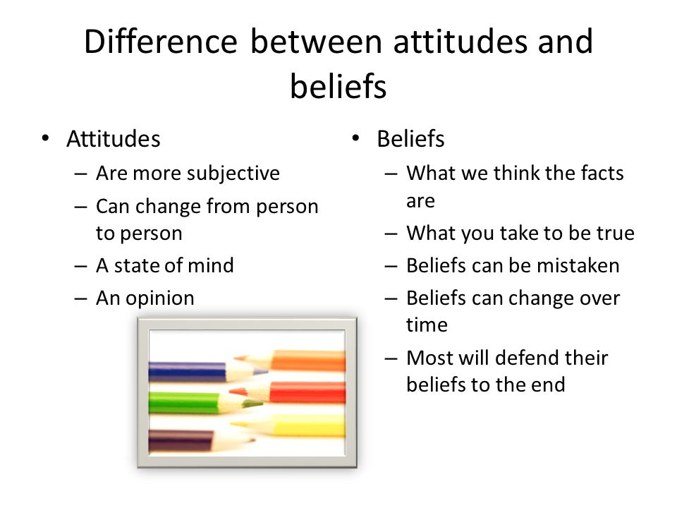 Difference between attitudes and beliefs