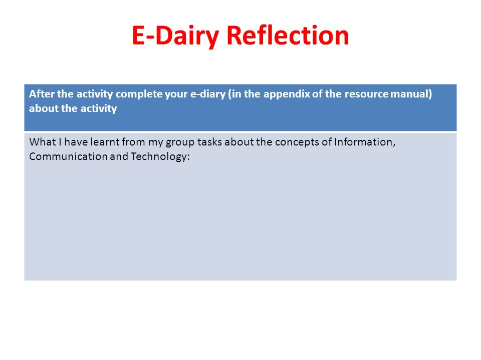 E-Dairy Reflection After the activity complete your e-diary (in the appendix of the resource manual) about the activity.