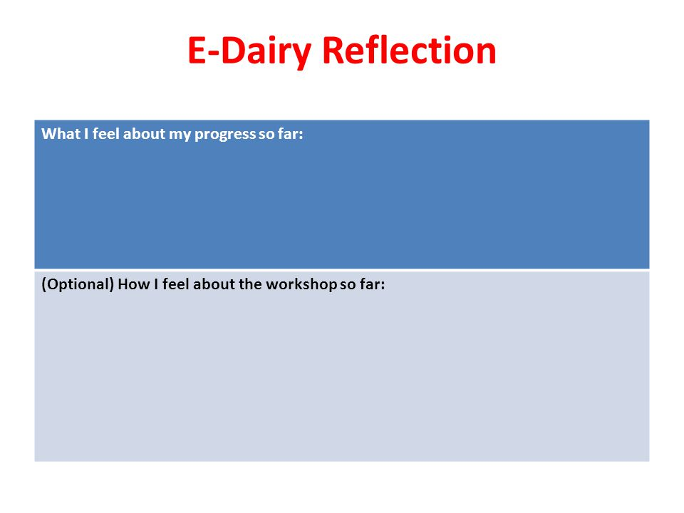 E-Dairy Reflection What I feel about my progress so far: