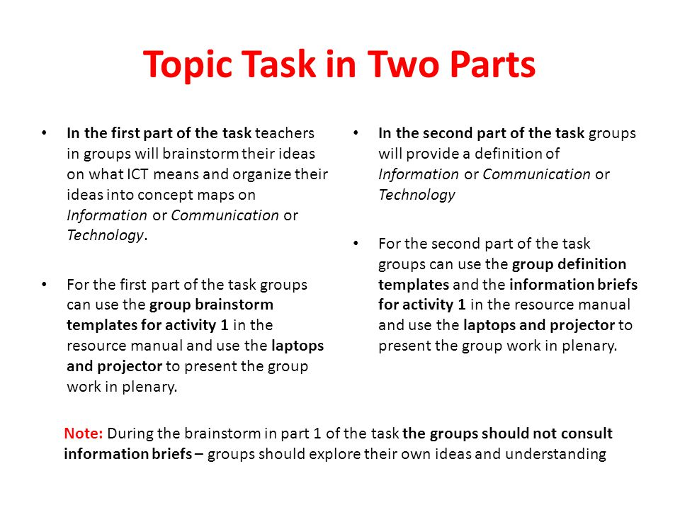 Topic Task in Two Parts