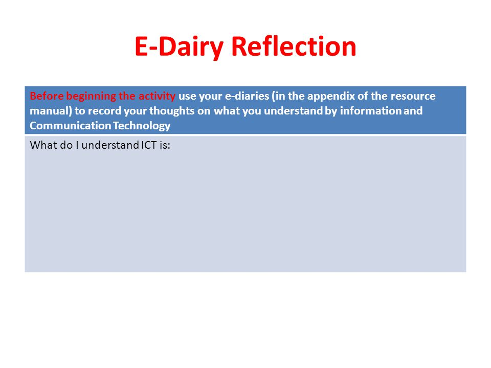 E-Dairy Reflection