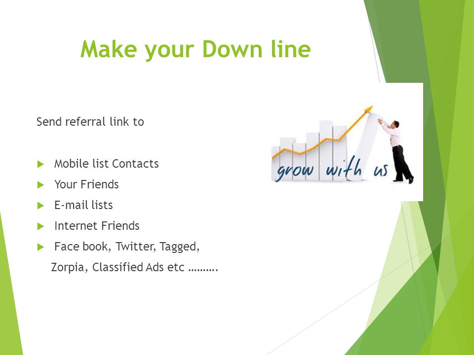 Make your Down line Send referral link to Mobile list Contacts