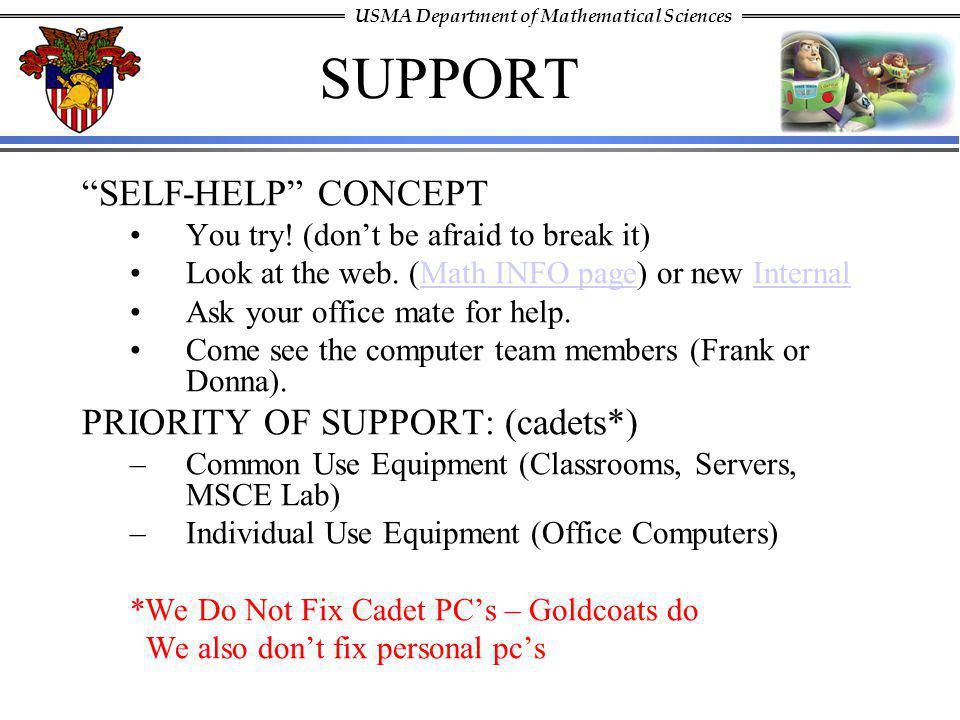 SUPPORT SELF-HELP CONCEPT PRIORITY OF SUPPORT: (cadets*)