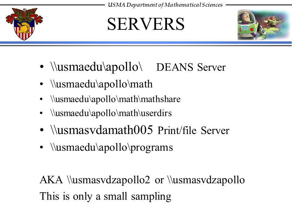 SERVERS \\usmaedu\apollo\ DEANS Server