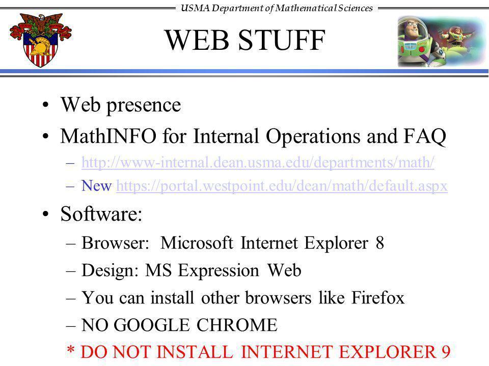 WEB STUFF Web presence MathINFO for Internal Operations and FAQ