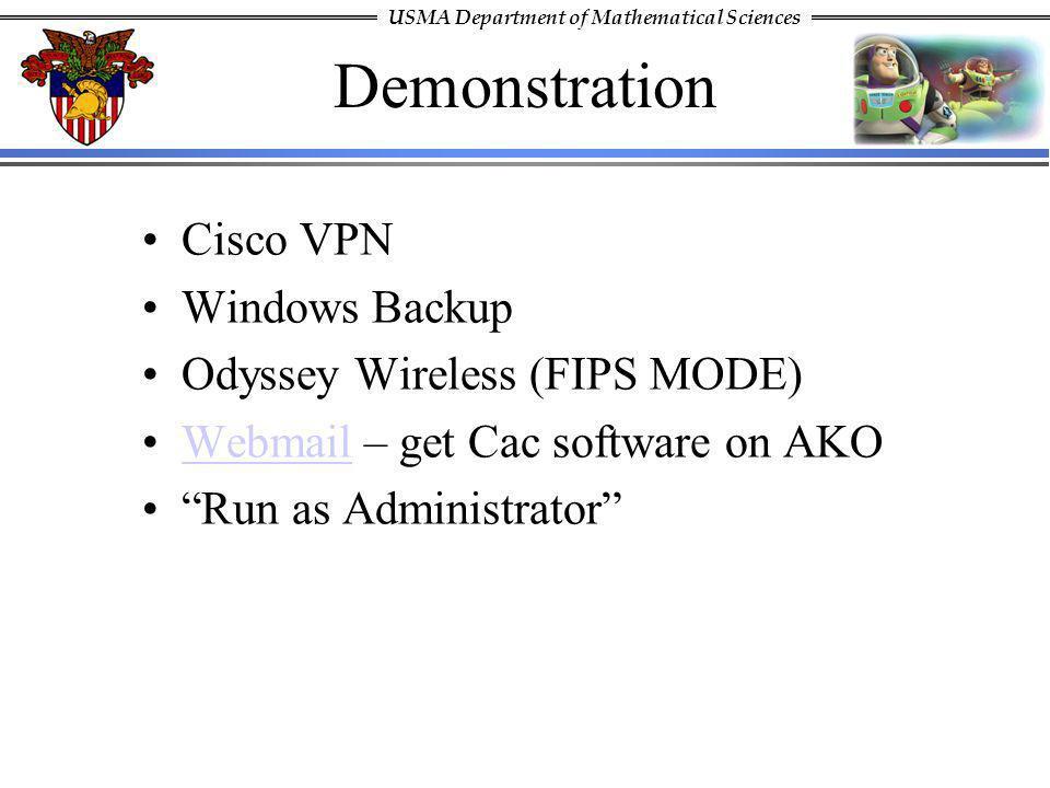 Demonstration Cisco VPN Windows Backup Odyssey Wireless (FIPS MODE)