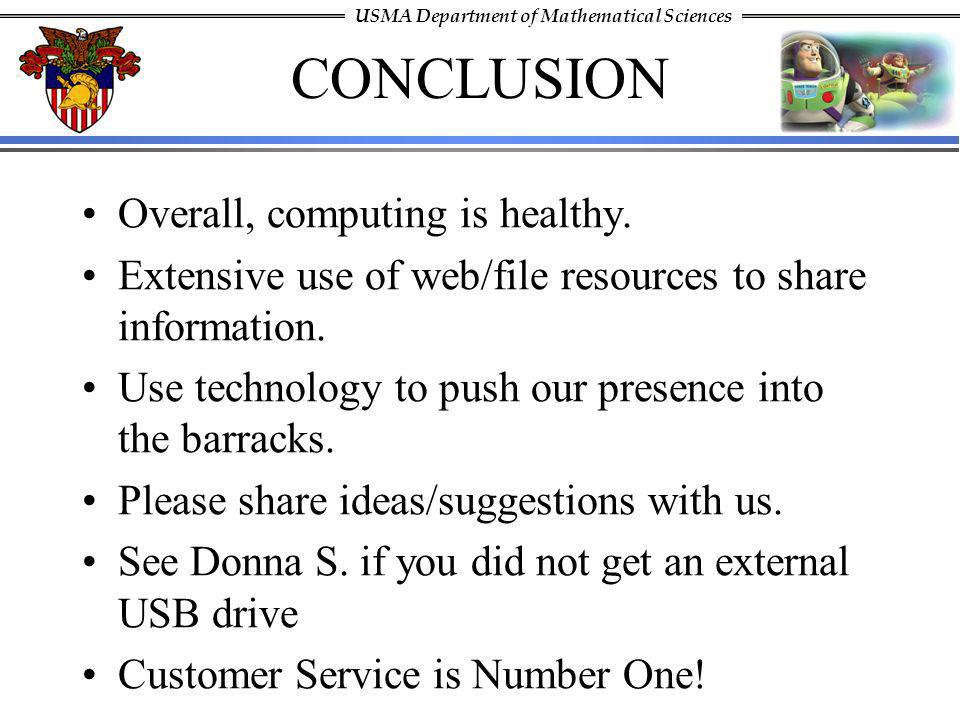CONCLUSION Overall, computing is healthy.