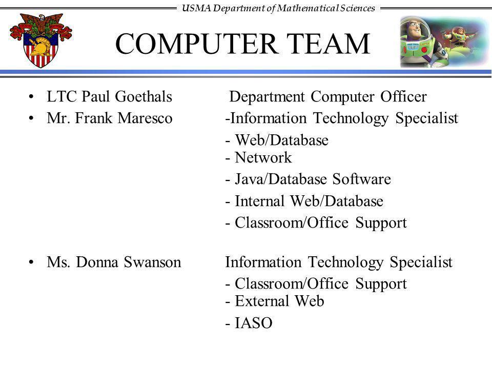 COMPUTER TEAM LTC Paul Goethals Department Computer Officer