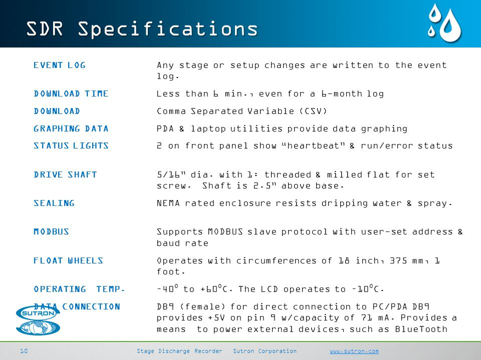SDR Specifications
