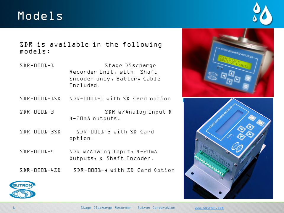 Models SDR is available in the following models: