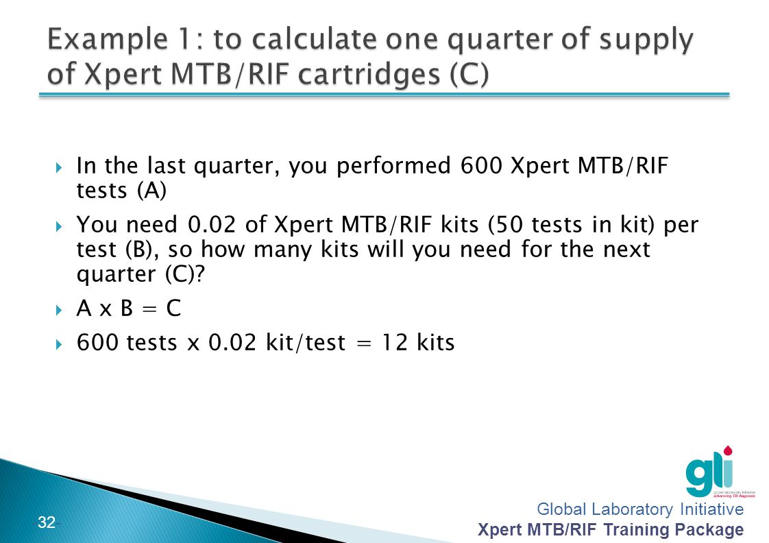 Example 1: to calculate one quarter of supply of Xpert MTB/RIF cartridges (C)