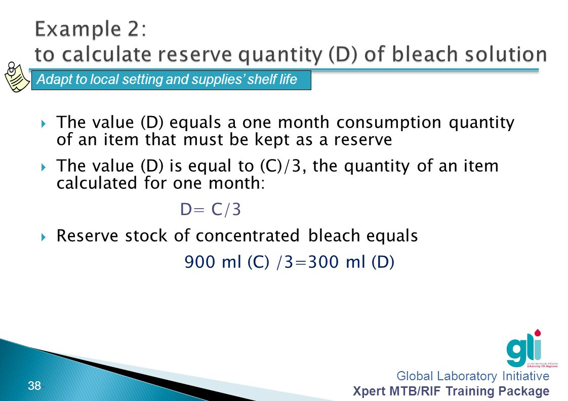 Example 2: to calculate reserve quantity (D) of bleach solution