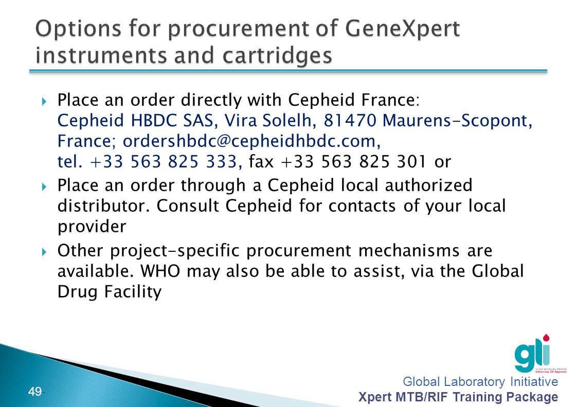 Options for procurement of GeneXpert instruments and cartridges