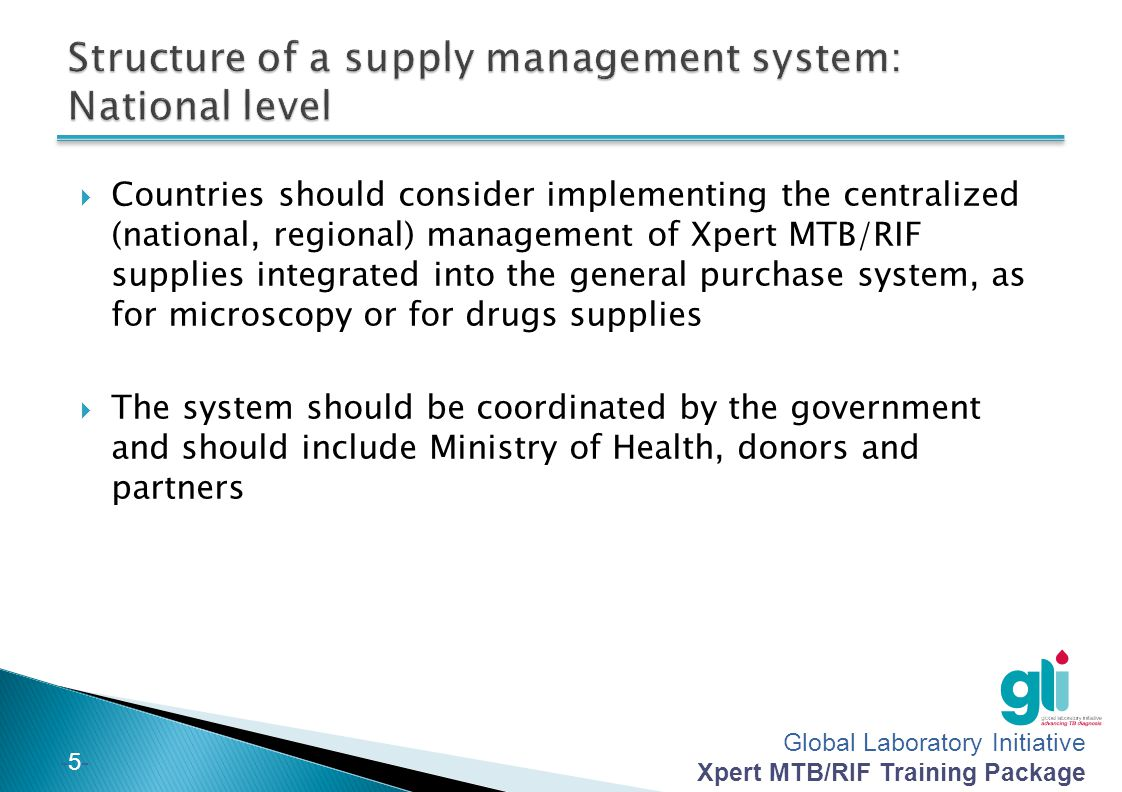 Structure of a supply management system: National level