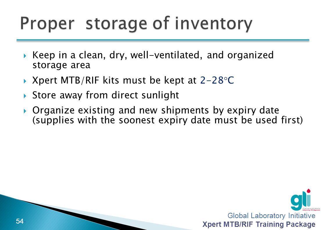Proper storage of inventory
