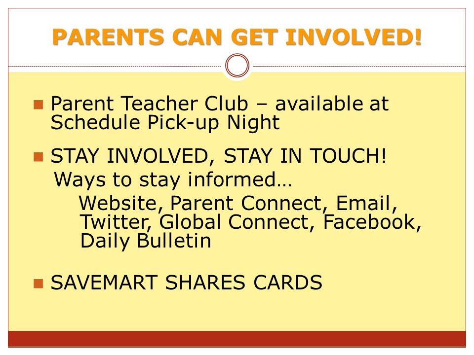 PARENTS CAN GET INVOLVED!