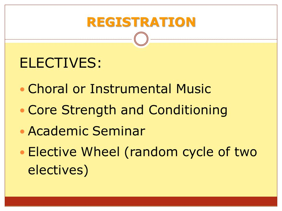 ELECTIVES: REGISTRATION Choral or Instrumental Music