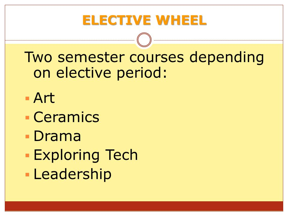 Two semester courses depending on elective period: Art Ceramics Drama