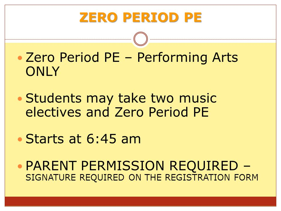Zero Period PE – Performing Arts ONLY