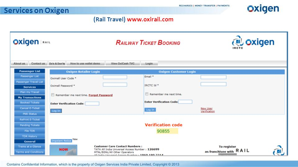 Services on Oxigen (Rail Travel) www.oxirail.com