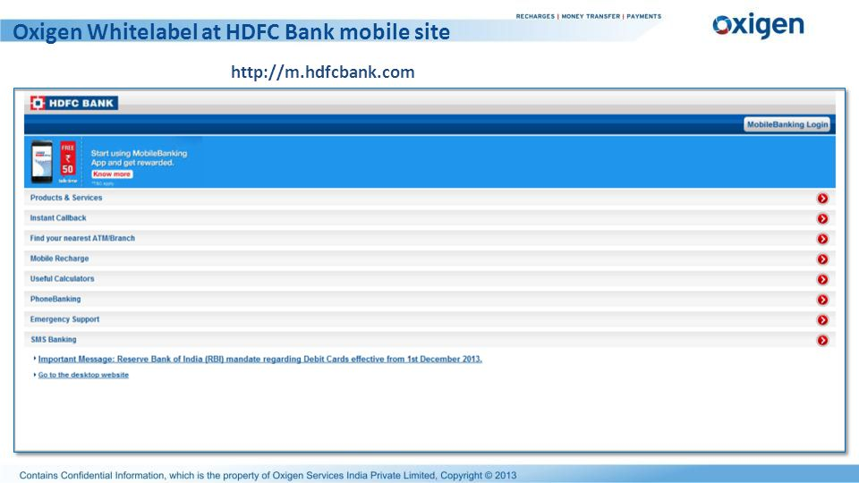 Oxigen Whitelabel at HDFC Bank mobile site