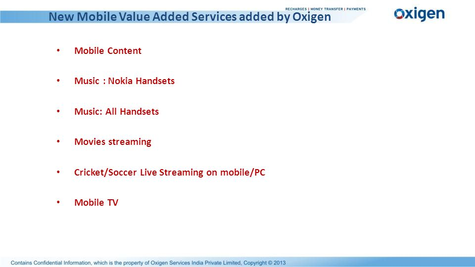 New Mobile Value Added Services added by Oxigen