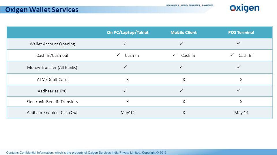 Oxigen Wallet Services