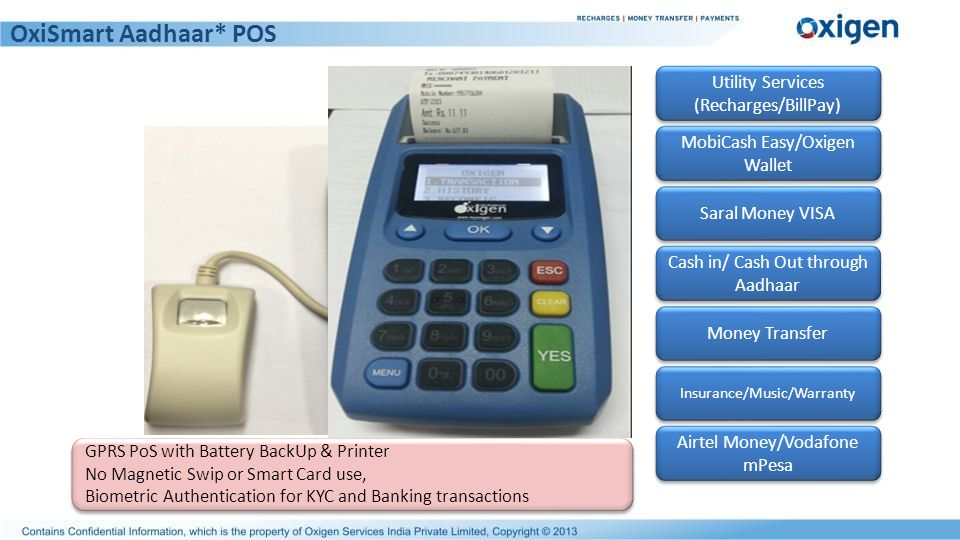 OxiSmart Aadhaar* POS Utility Services (Recharges/BillPay)
