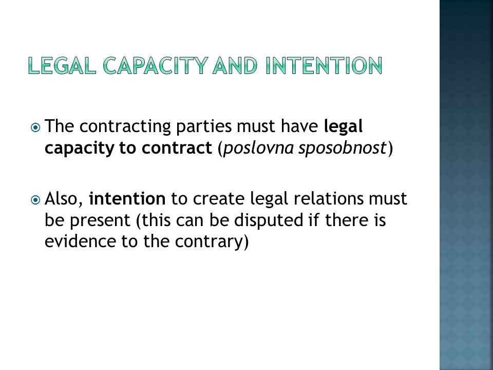 Legal Capacity and Intention