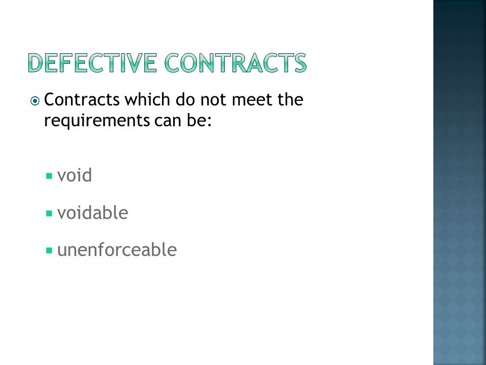 Defective contracts void voidable unenforceable